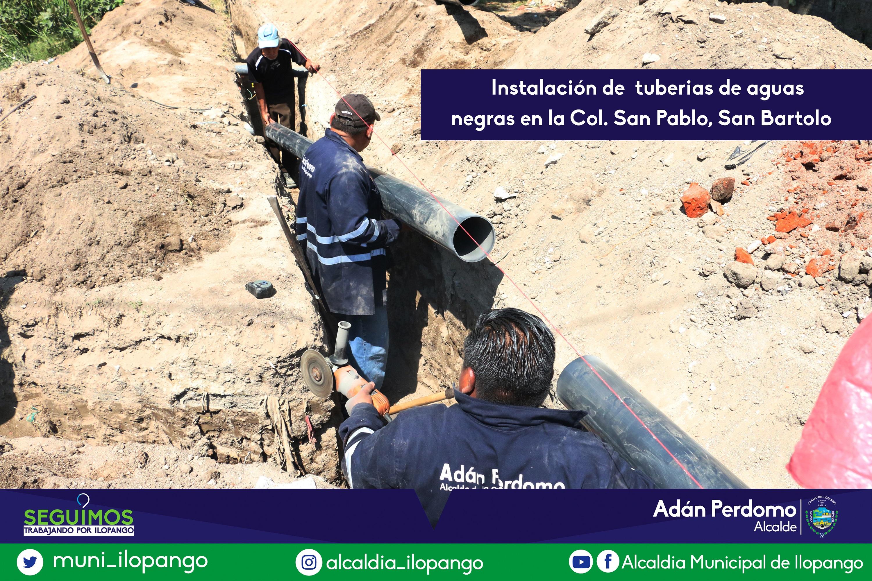 Instalacion de aguas negras en San Pablo San Bartolo