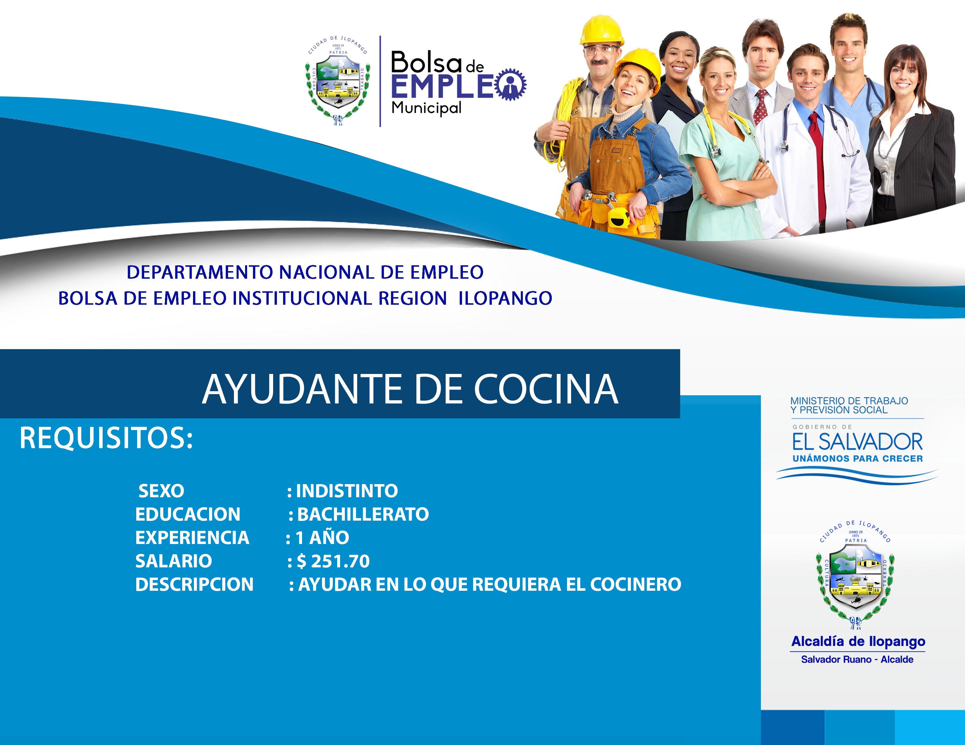 Ayudante cocina alcaldia municipal de ilopango for Busco trabajo ayudante de cocina